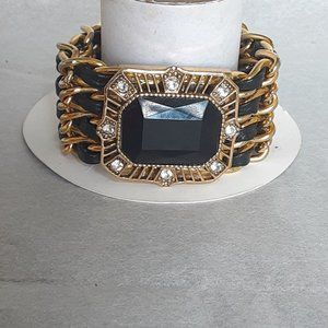 Jewelry - Upcycled chunky metal faux leather bracelet